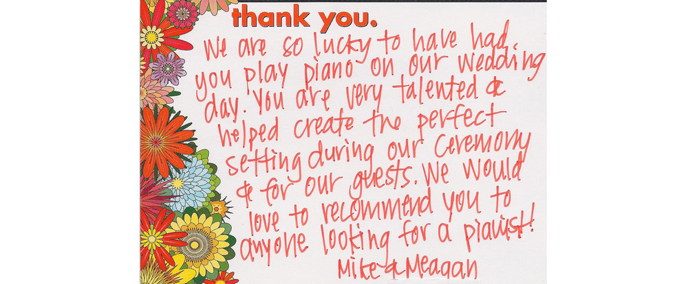 Wedding music thank you note to Pianist for Parties
