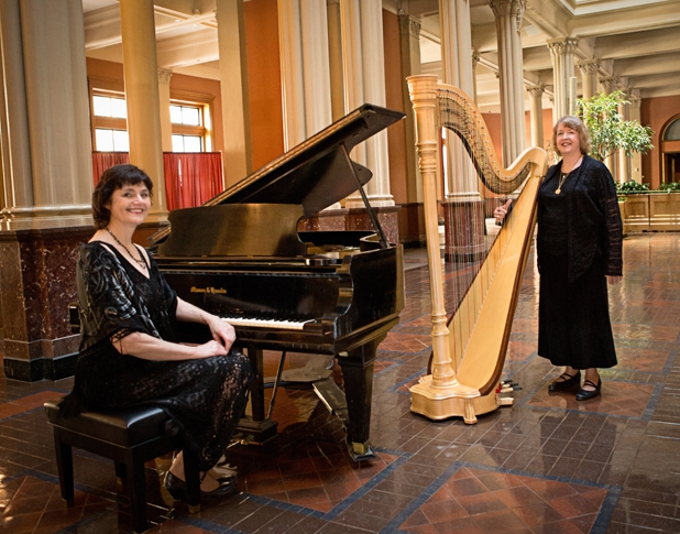 Corporate Event Musicians Harp and Piano Duo  Pianist Sharon Planer / Harpist Serena O'Meara