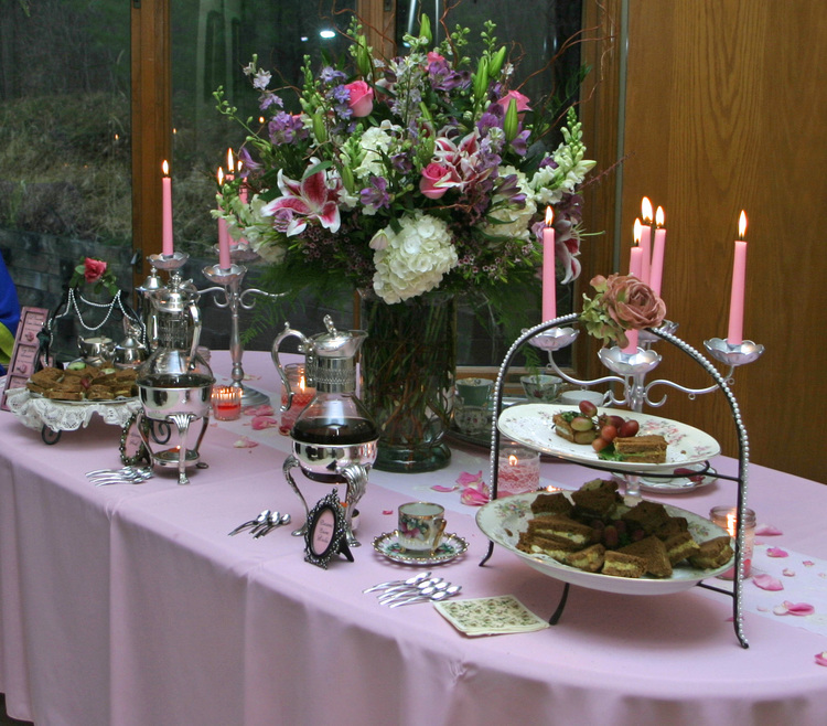 TABLE SETTING FOR A VICTORIAN AND DOWNTON ABBEY TEA PARTY IN A CLIENT'S HOME
