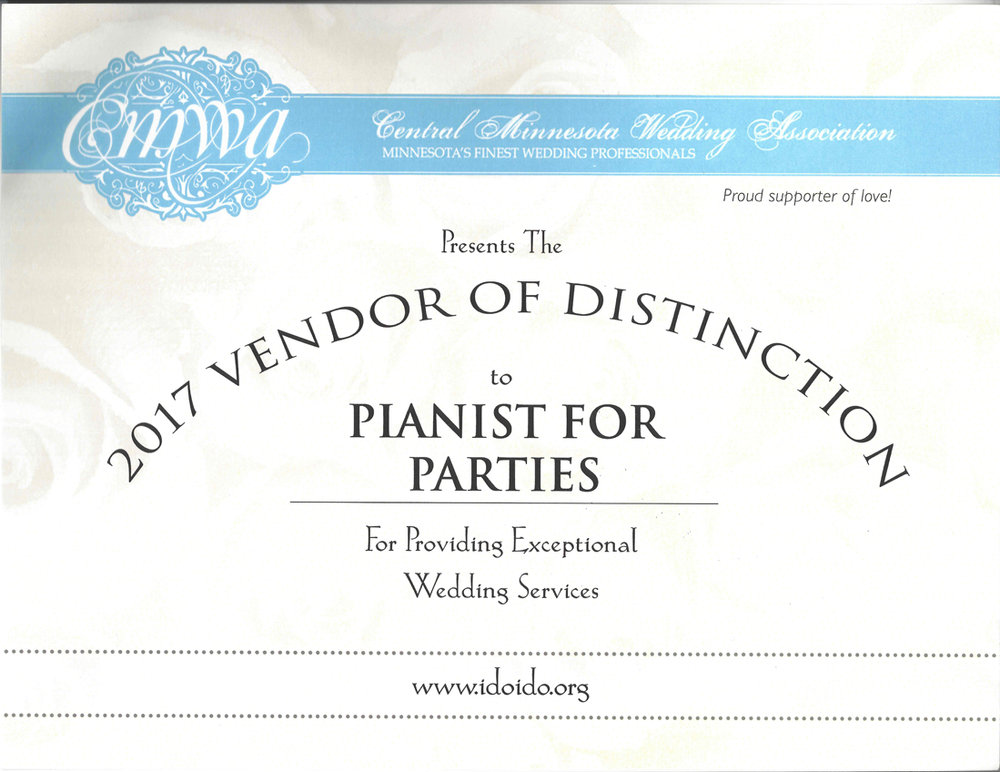 2017 Vendor or Distinction awarded to Sharon Planer Pianist for Parties