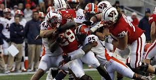 RB Montee Ball had only 14 rushing yards in the first half against Illinois last Saturday (10/6/12)