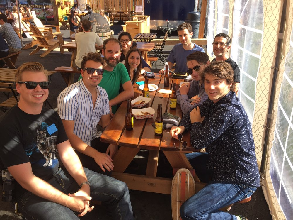UCSF, 2016. Counter Clockwise from right: Jack Taylor, Cole Helsell, David Kokel, Douglas Myers-Turnbull, Amanda Carvajal, Capria Rinaldi, Matt McCarroll, Ethan Fertsch and some guy in a wolf shirt.