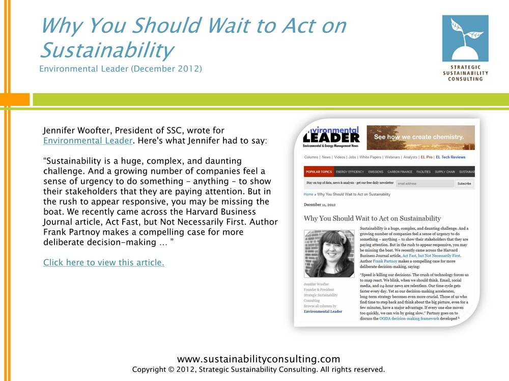 Why You Should Wait to Act on Sustainability