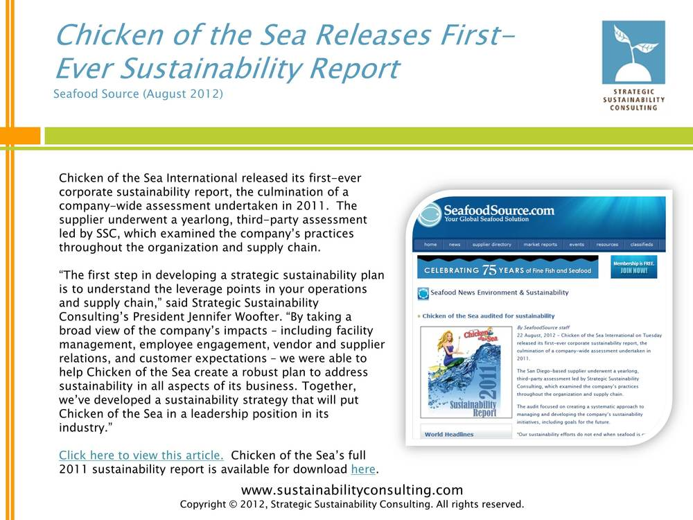 Chicken of the Sea Releases First-Ever Sustainability Report