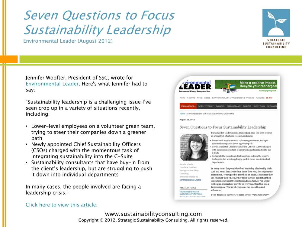 Seven Questions to Focus Sustainability Leadership