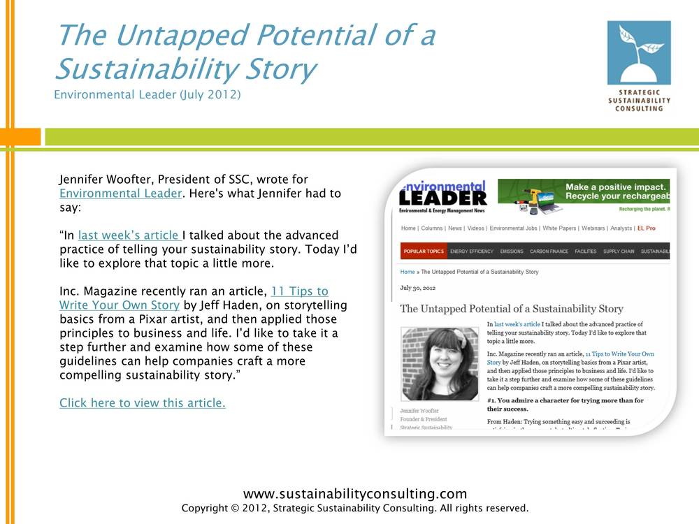The Untapped Potential of a Sustainability Story