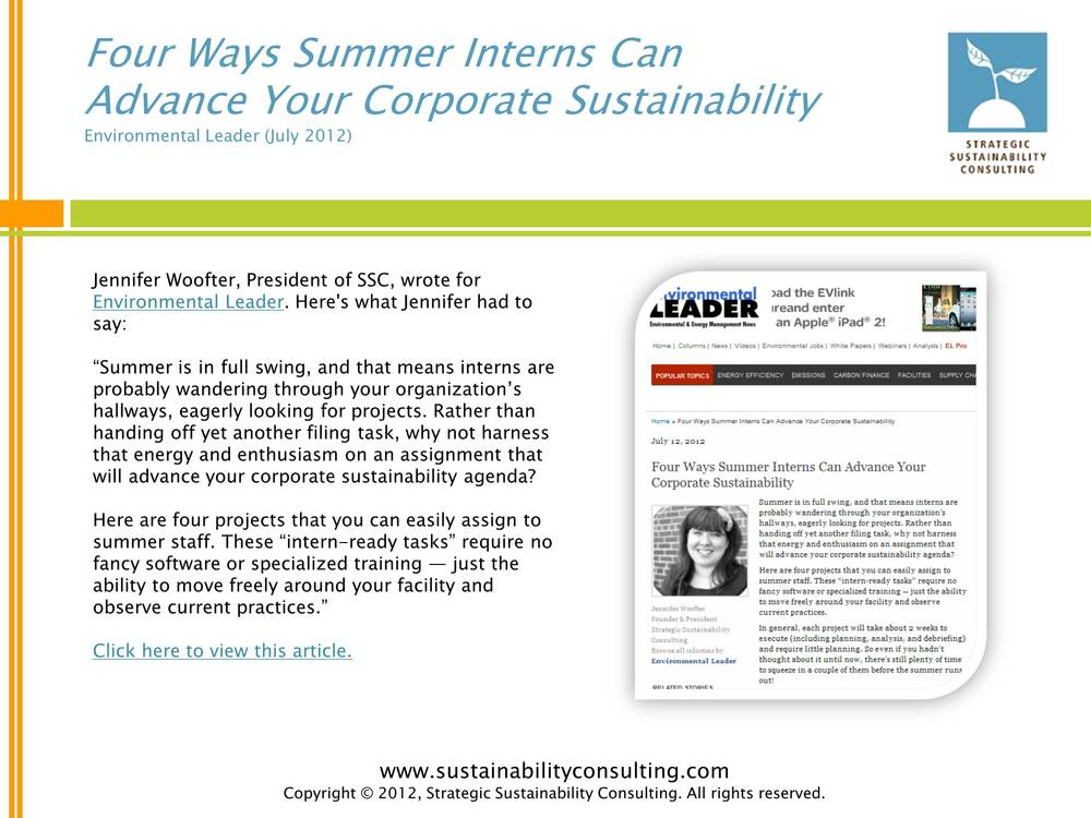 Four Ways Summer Interns Can Advance Your Corporate Sustainability