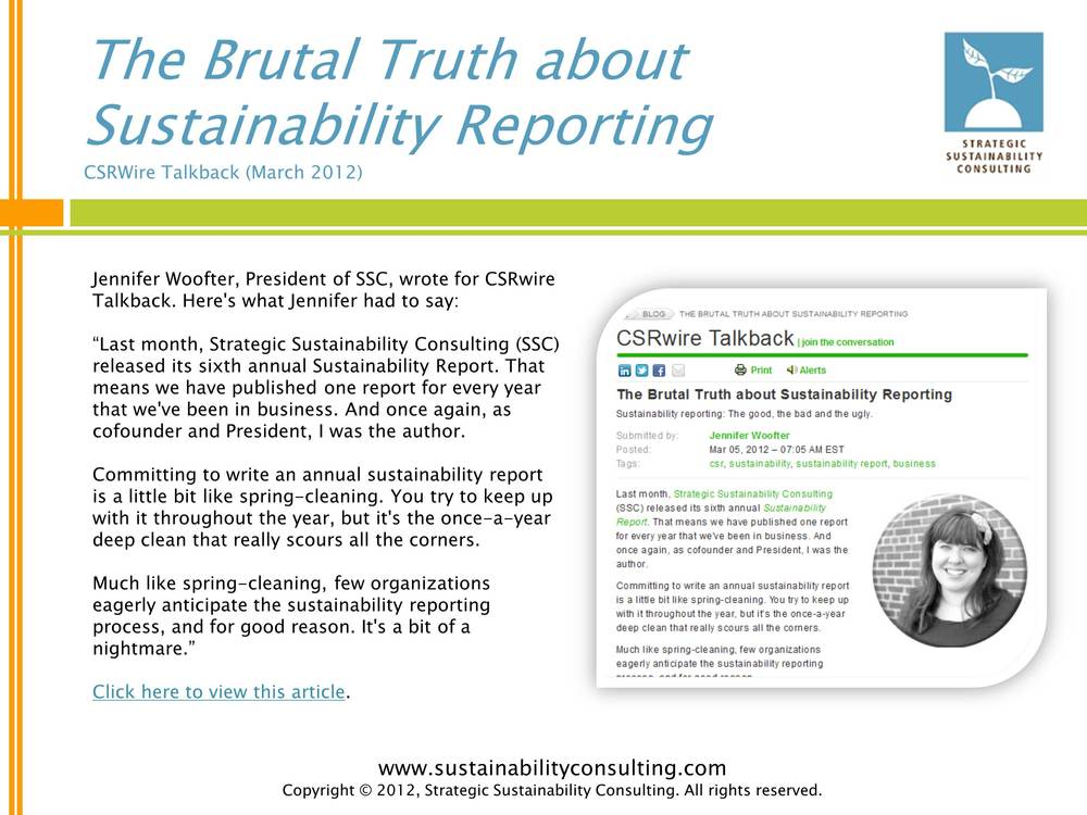 The Brutal Truth about Sustainability Reporting