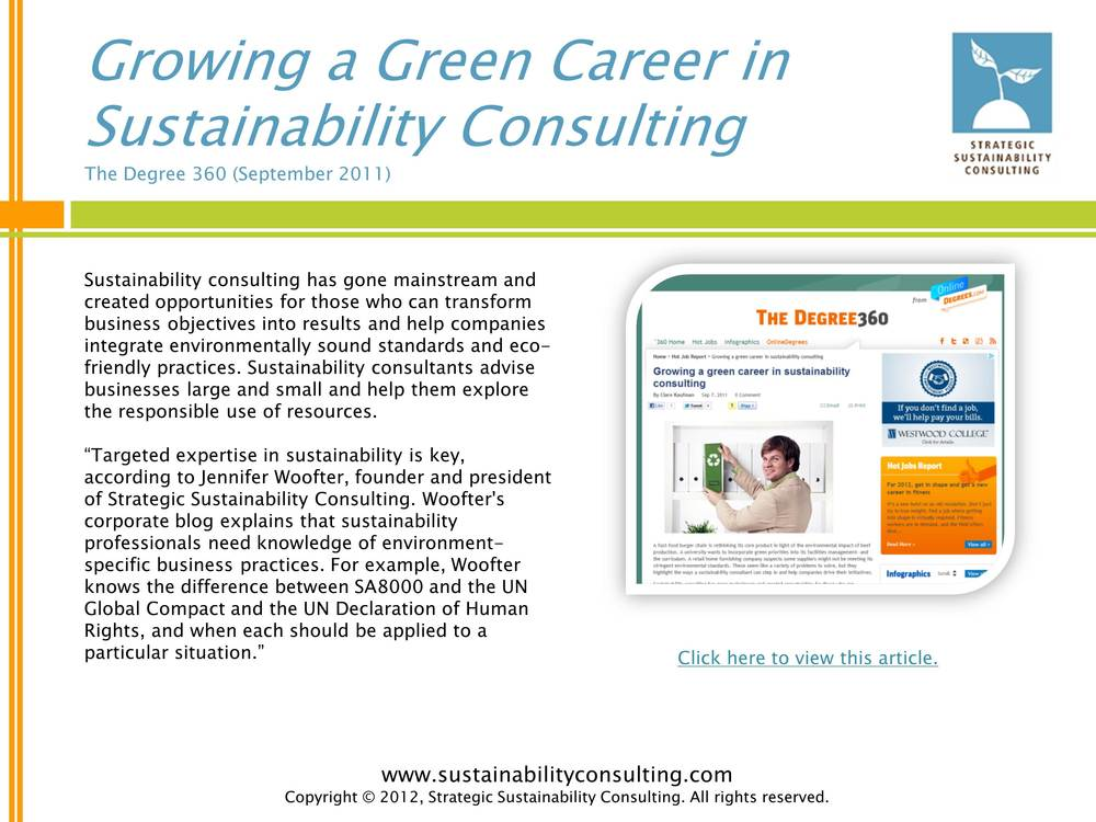 Growing a Green Career in Sustainability Consulting