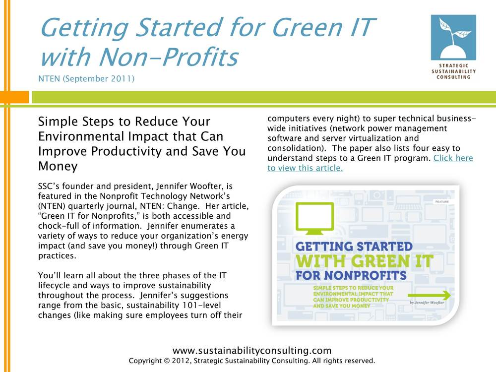 Getting Started for Green IT with Non-Profits