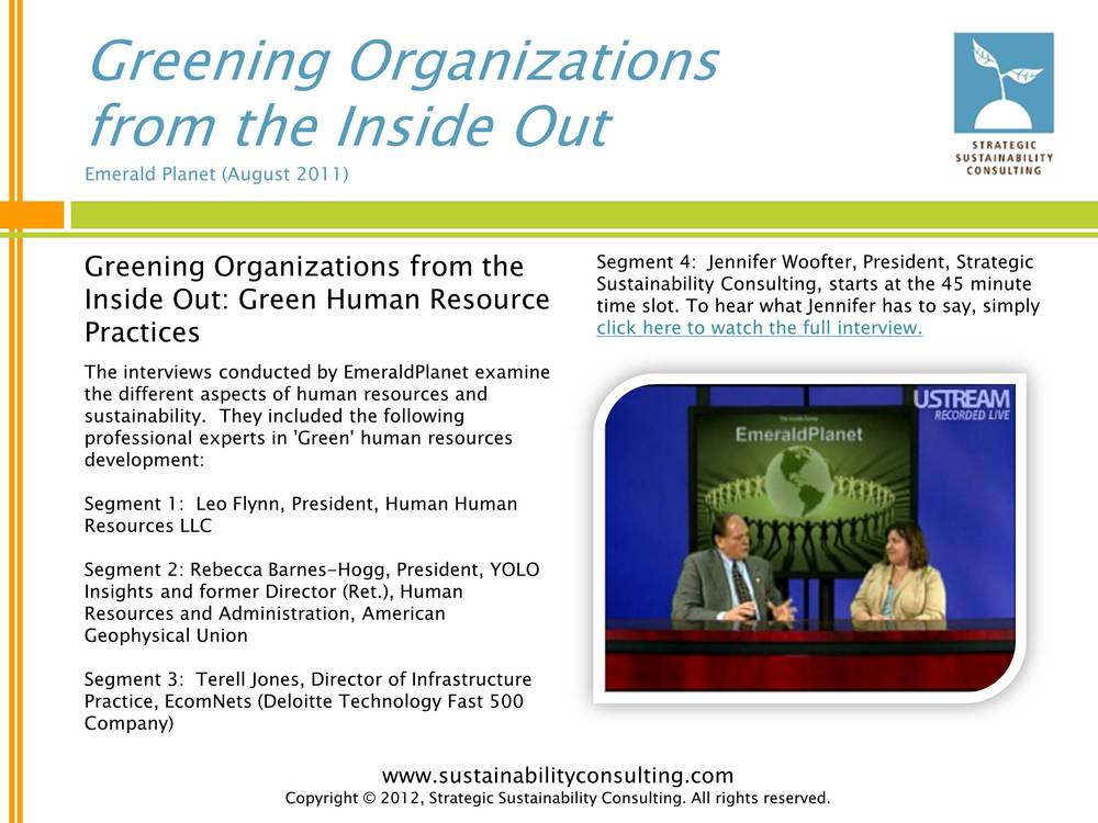 Greening Organizations from the Inside Out