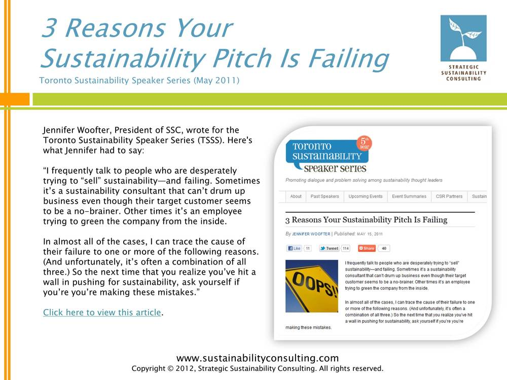 3 Reasons Your Sustainability Pitch is Failing