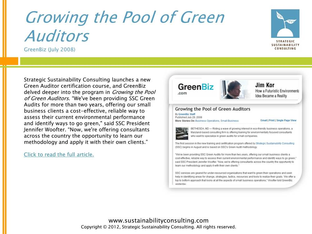 Growing the Pool of Green Auditors