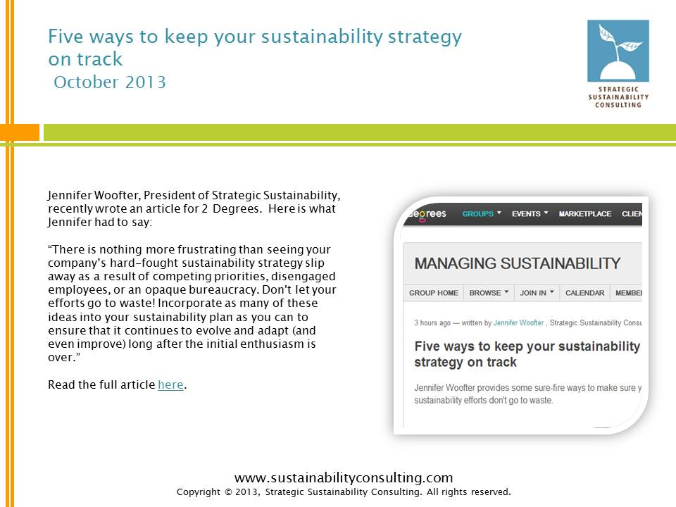 Five Ways to Keep Your Sustainability Strategy on Track