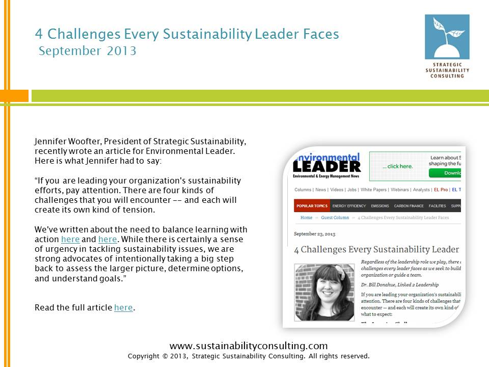 4 Challenges Every Sustainability Leader Faces