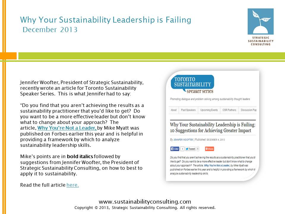Why Your Sustainability Leadership is Failing