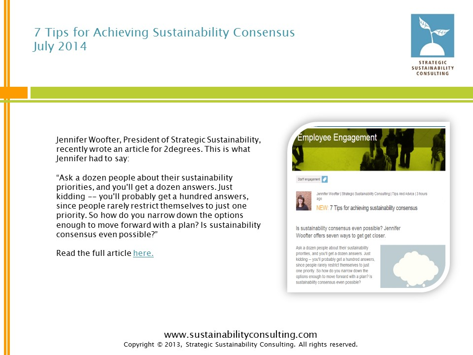 7 Tips for Achieving Sustainability Consensus