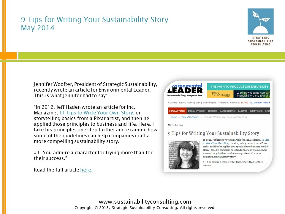 9 Tips for Writing Your Sustainability Story