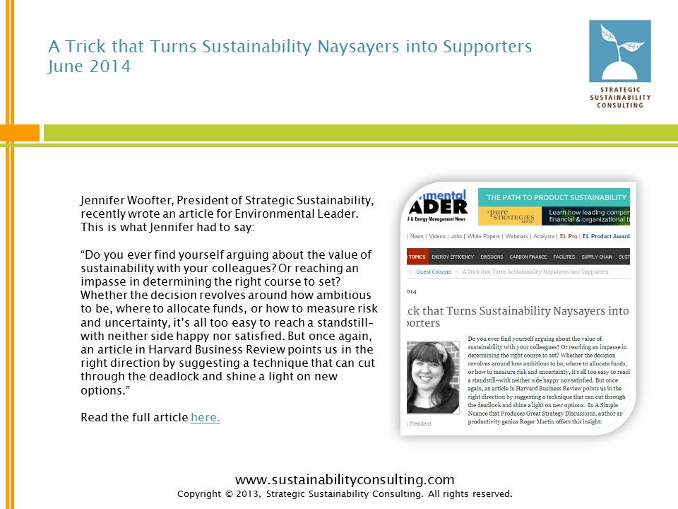 A Trick that Turns Sustainability Naysayers into Supporters