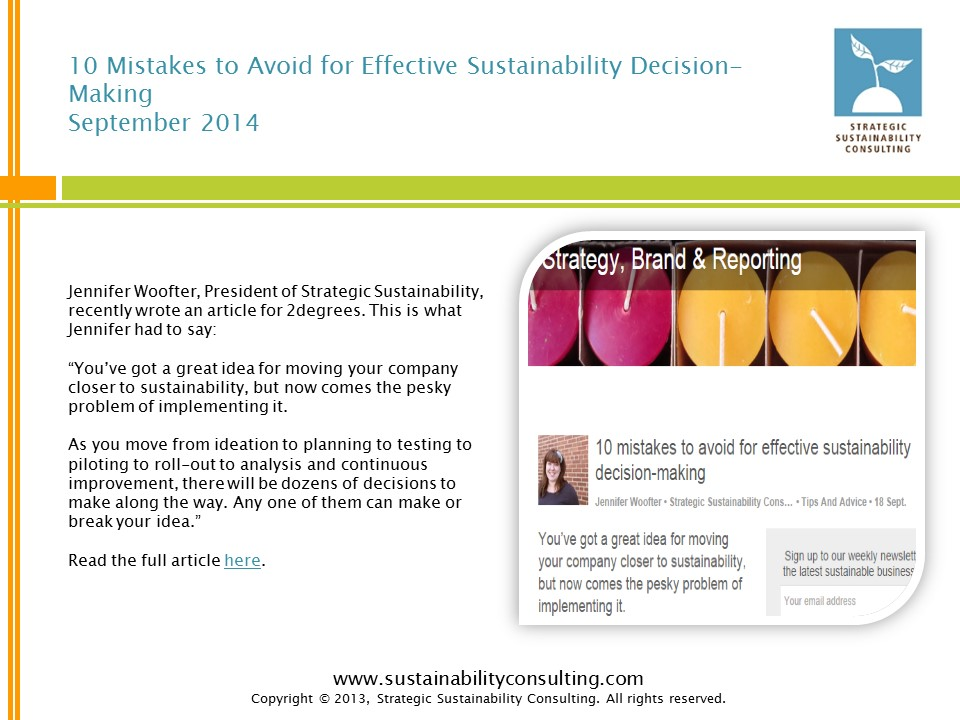 10 Mistakes to Avoid for Effective Sustainability Decision-Making