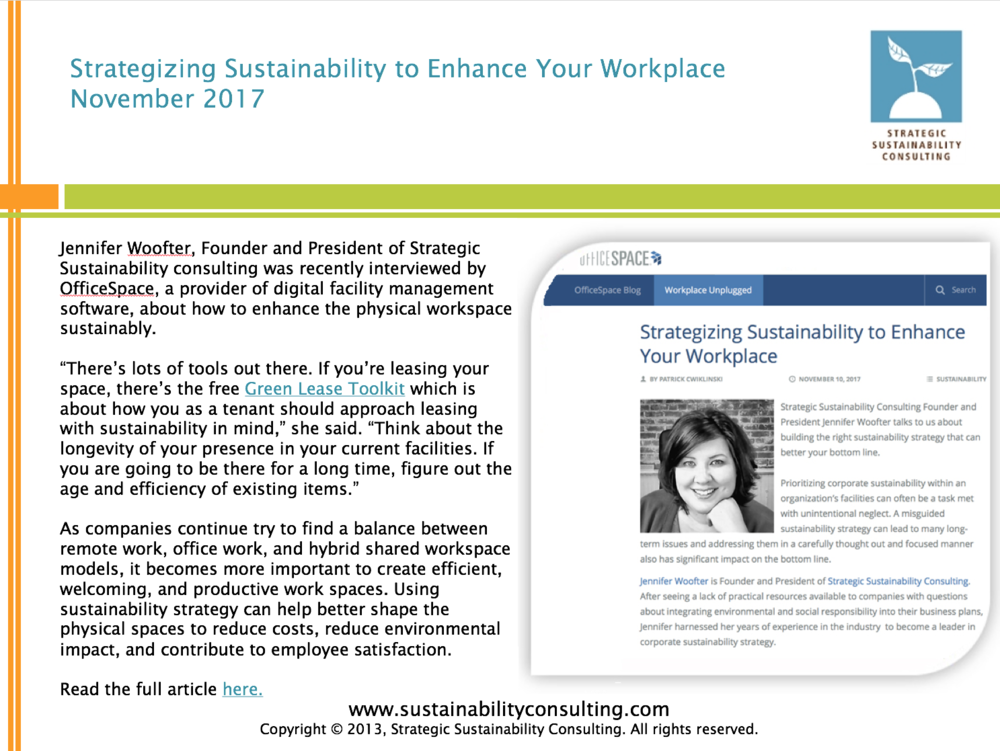 Strategizing Sustainability to Enhance Your Workplace