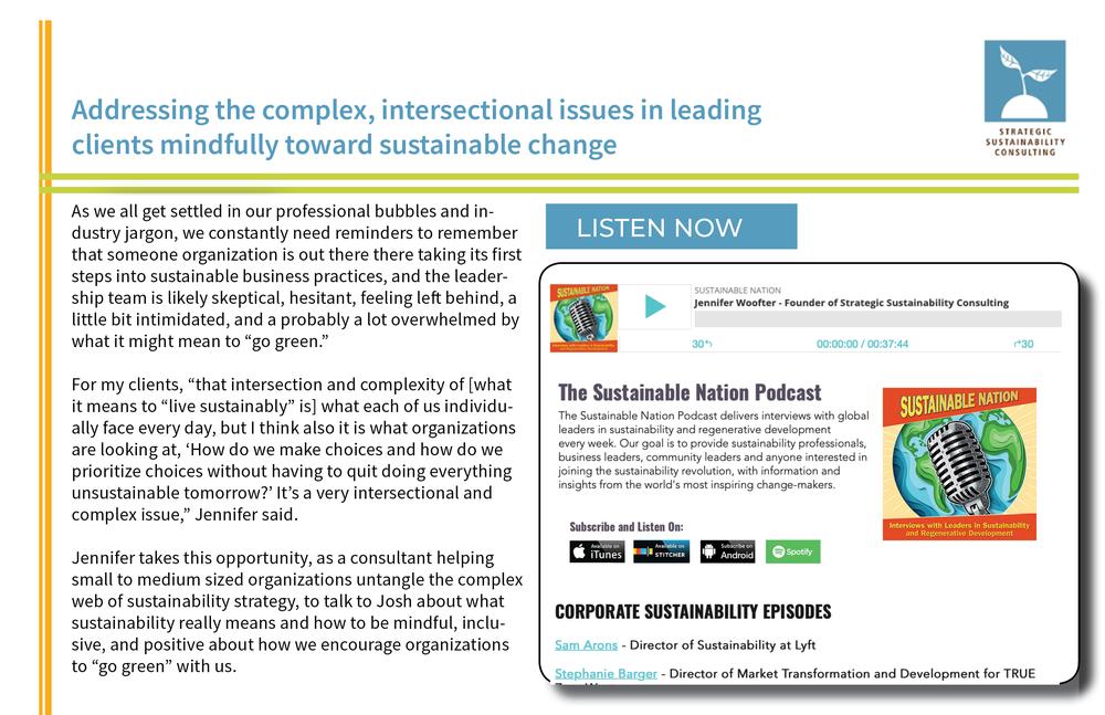 Jennifer Woofter on Sustainable Nation