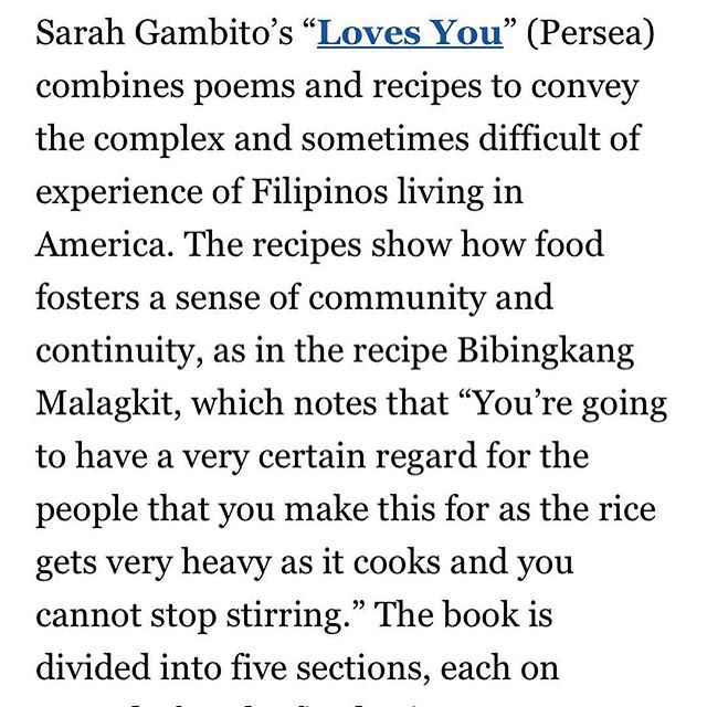 "Thanks @perseabooks for sharing this thoughtful review of LOVES YOU from @washingtonpost. ⠀⠀⠀⠀⠀⠀⠀⠀⠀ Here's my recipe for bibkingka for friends.... ⠀⠀⠀⠀⠀⠀⠀⠀⠀ 2 cups glutinous sweet rice  4 cups coconut milk 1 1/2 cup brown sugar 1/2 tsp salt 3/4 cup coconut cream ⠀⠀⠀⠀⠀⠀⠀⠀⠀ Bring coconut milk to boil in a large skillet. Add rice and salt and cook on medium heat. Stir constantly, as if you are making a risotto, until rice is tender and almost dry, about 15 to 20 minutes. Stir in 3/4 cup brown sugar, lower heat and cook, covered, 5 minutes. Spread cooked rice mixture in a greased foil lined 8"" square pan. Combine the remaining sugar and the thick coconut milk. Pour on top of rice in pan and spread evenly. Broil in oven for 4 to 5 minutes or until top is brown. You're going to have a very certain regard for the people that you make this for as the rice gets very heavy as it cooks and you cannot stop stirring. I first made this in summer for Joseph and Kron and I did not realize how long I would need to stand in front of a hot oven. ⠀⠀⠀⠀⠀⠀⠀⠀⠀ Repost from @perseabooks ⠀⠀⠀⠀⠀⠀⠀⠀⠀ #perseabooks #gulay #poetry #cooking #filipino #badsaint #allmylife❤️ #allthefeels #swoon #kayumanggi #hungry #hangry #forksandspoons #filam #filipinoliterature #filipinolit #filipinowriters #filipinowriter #filipinoauthors #filipinoauthor #filipinobooks #filipinobook"