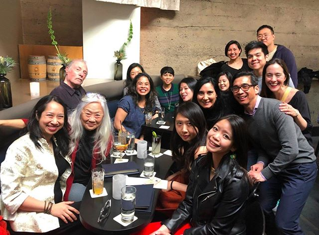 I'm grinning like split peach because we got to have OG cocktails with the fabulous Maxine Hong Kingston @AWP