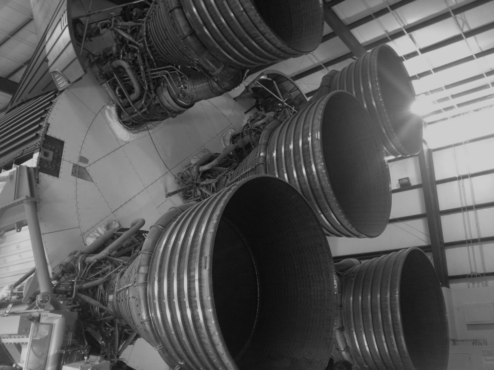 Rocket boosters from the incredible Saturn V rocket.