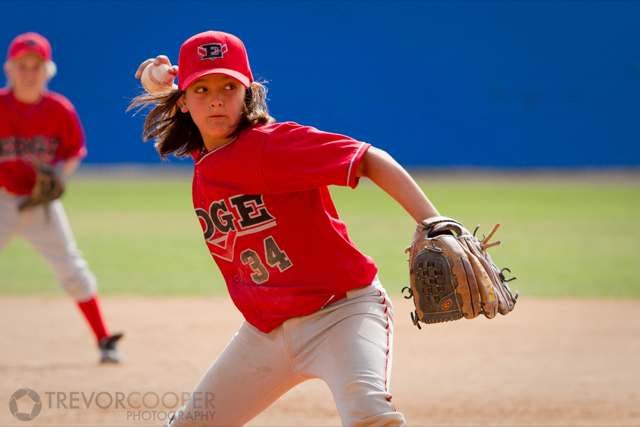 Encinitas EDGE Pitcher delivering fastball.