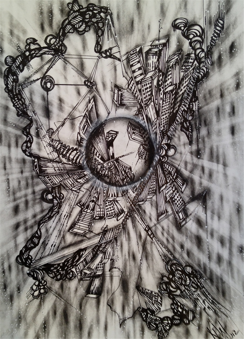 Distortions, 17x14 charcoal/pen on paper