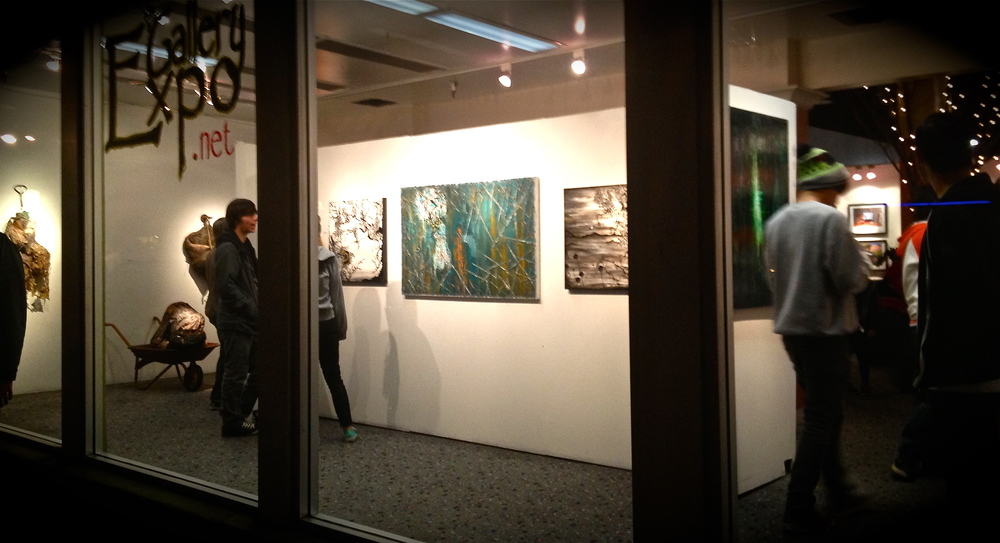 My work in the window at Gallery Expo, Long Beach, California