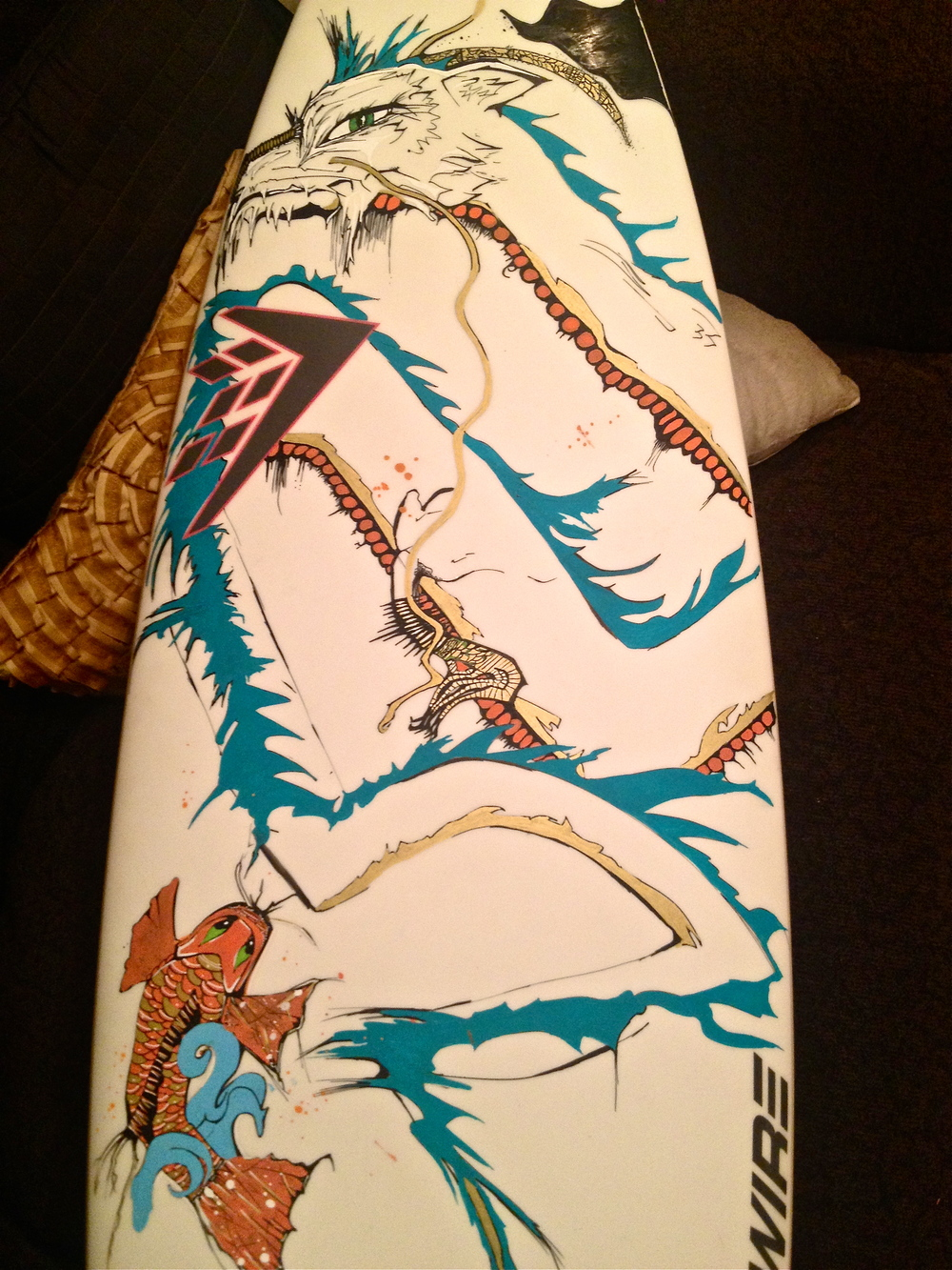 Work in progress, FireWire surfboard Kellie Thomas-Walker ART