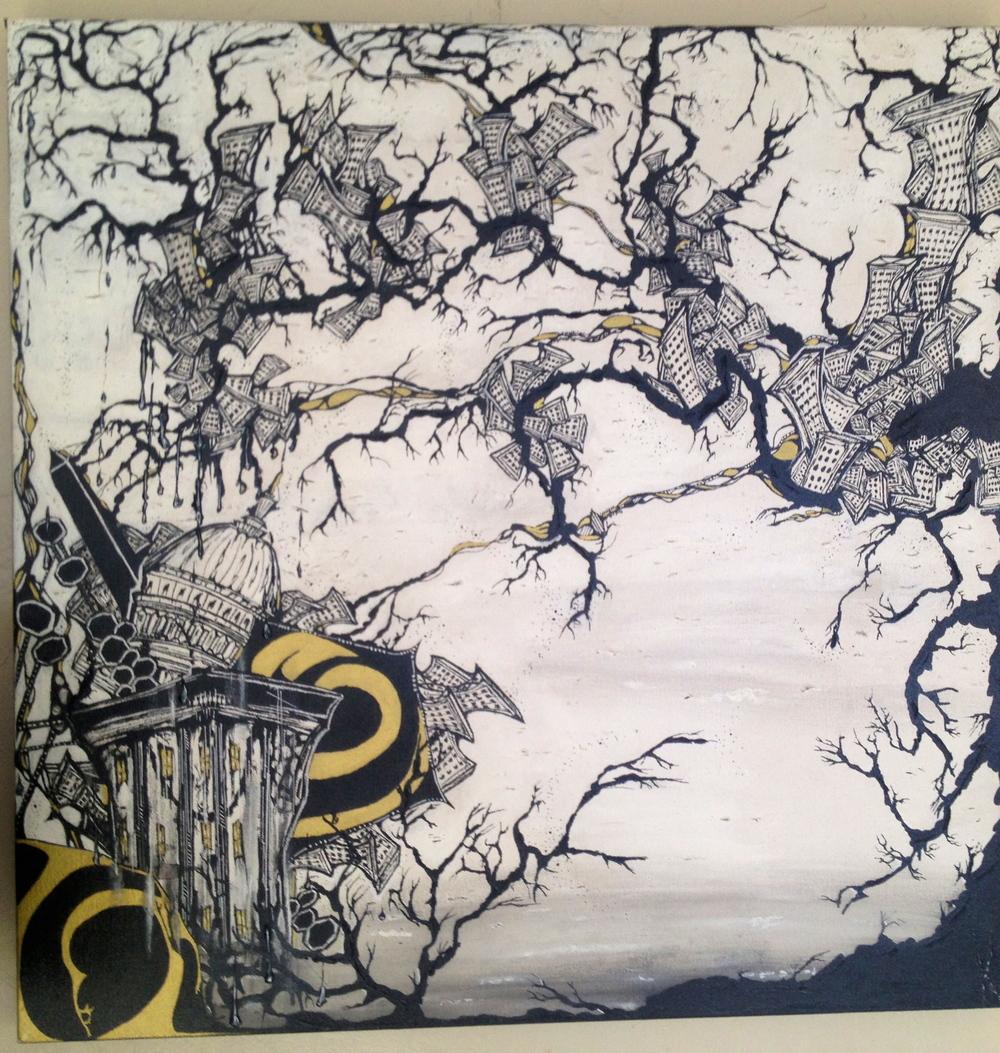 """""""The Kingdom"""" 24 x 24. mixed media on canvas"""