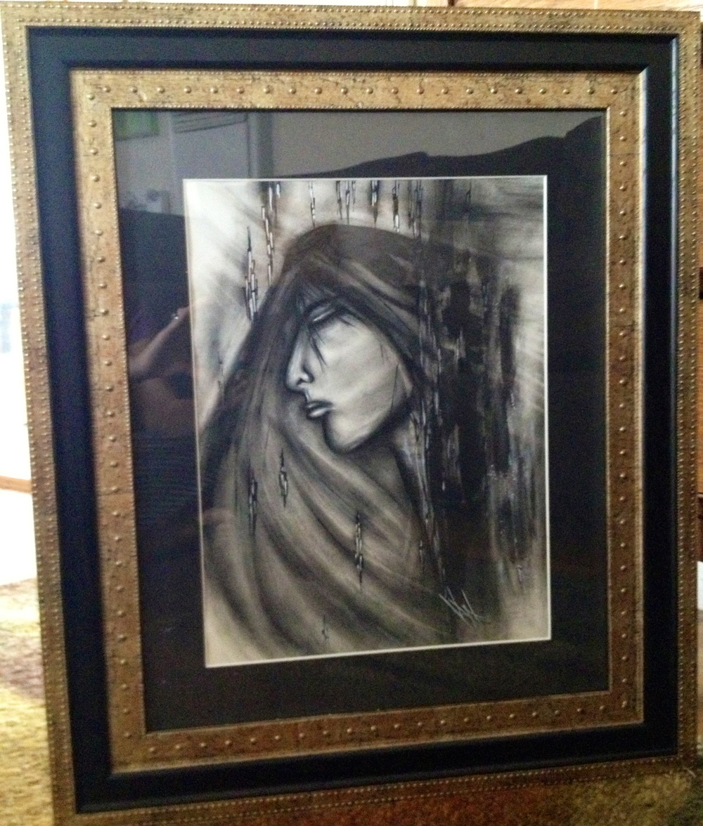 Anguish  (Mary's grief) 20x16,  pen/charcoal, $375