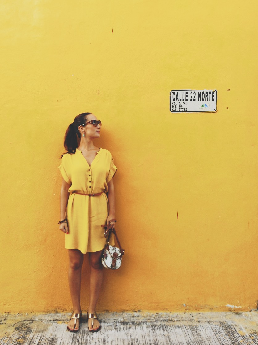 Yellow wall on Calle 22 in Playa del Carmen