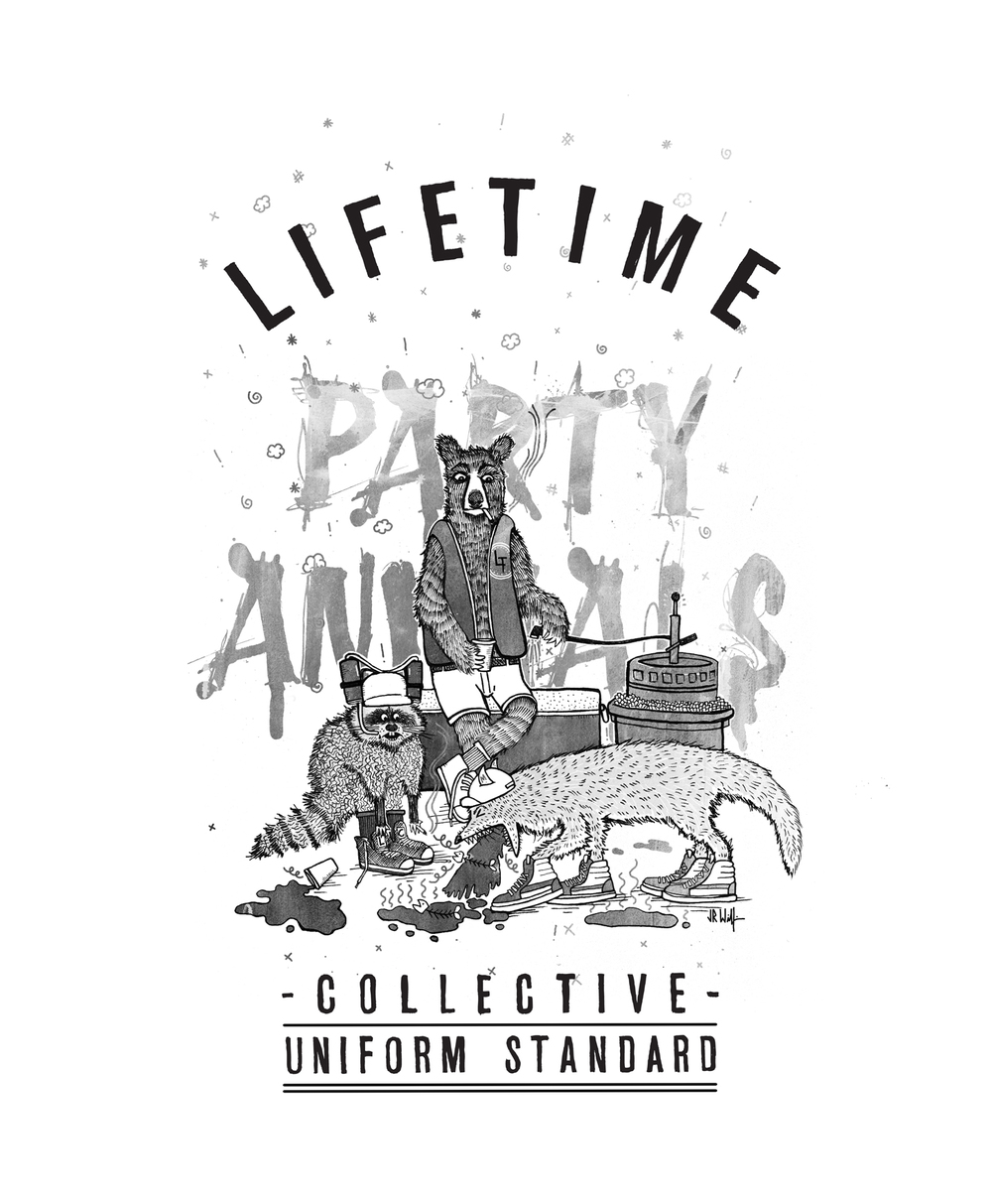 These Party Animals better have some blue Gatorade and bacon ready. Lifetime Collective artwork for their upcoming Uniform Standard Fall/Winter 2013 line.