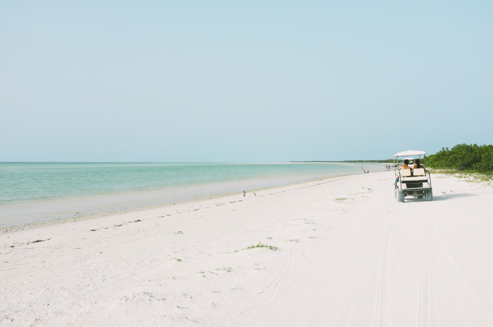 Vroom, Vroom. Golf Cart rentals on Holbox, heading out to Punta Mosquito.