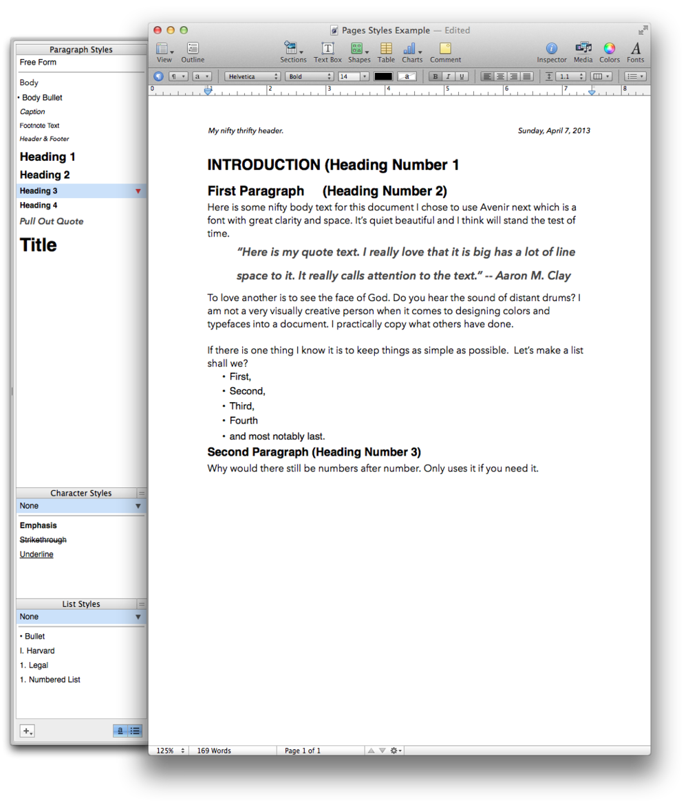 Example  style drawer  in Apple's Pages 09.