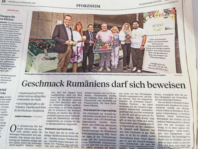 Presseartikel vom 11. September 2018 in der Pforzheimer Zeitung