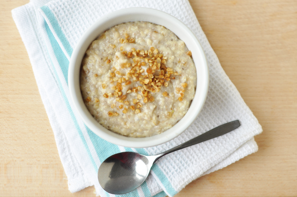 """A simple porridge bowl in minutes. The chia gives a great boost and the mulberry crumble adds sweetness and crunch!"""