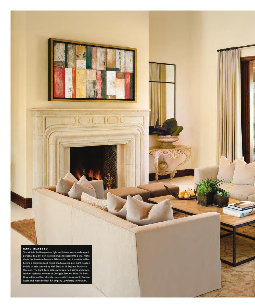 Custom art above fireplace