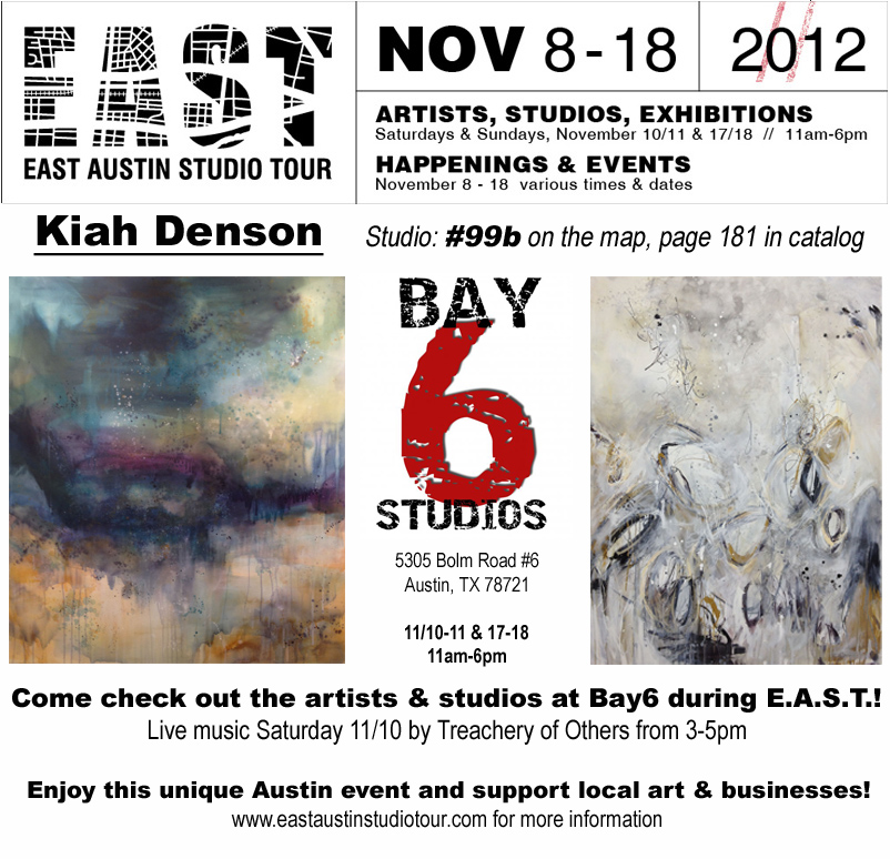 Come see us at BAY6 Gallery & Studios! Two weekends: Nov 10-11 & 17-18, 11am-6pm each day 5305 Bolm Road, Austin Texas 78721 (click image for more info)