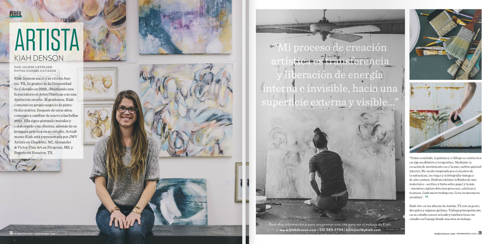 Featured Artist Profile, La Mujer Magazine, Spring/Primavera 2015