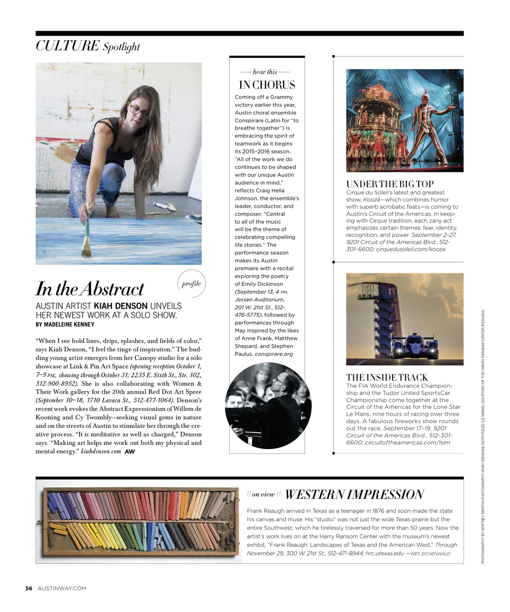 Culture Spotlight Profile,  Austin Way Magazine , Fall 2015