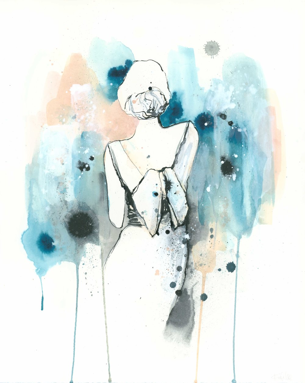 """Lady 1""  ink, pen & acrylic on paper  20 x 16  2017  SOLD (commission)"