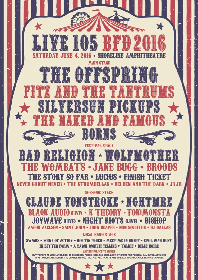non sequitur live 105 bfd offspring claude vonstroke silversun pickups subsonic aaron axelson