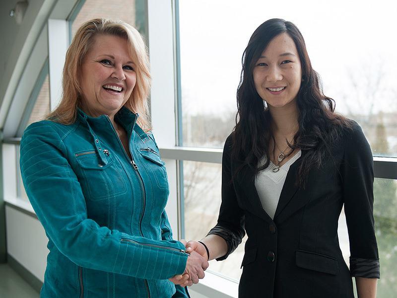 Colleen Breen (left) mentor  Sabrina (right) mentee in Nursing Program
