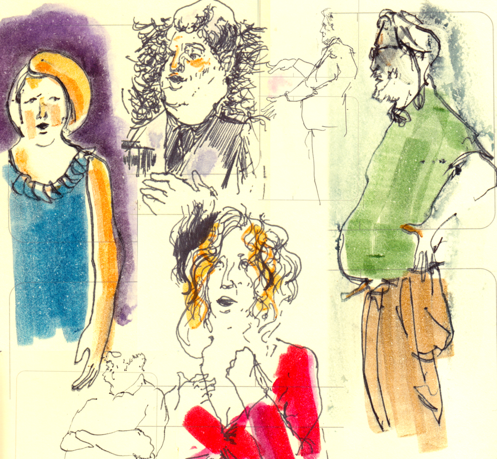 "Drawings from ""A Day in the Life of an Opera Center"" feedback auditions and lectures"