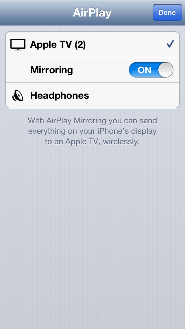 AirPlay Mirroring on an iPhone 5